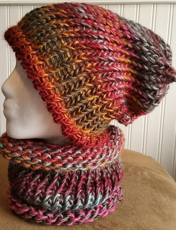 Cowl Tube Scarf Slouchy Hat Set Free Shipping In Us Hand Etsy