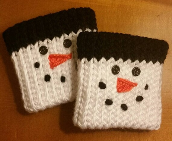 Snowman Boot Toppers Bootcuffs Double Hand Knit Christmas Etsy