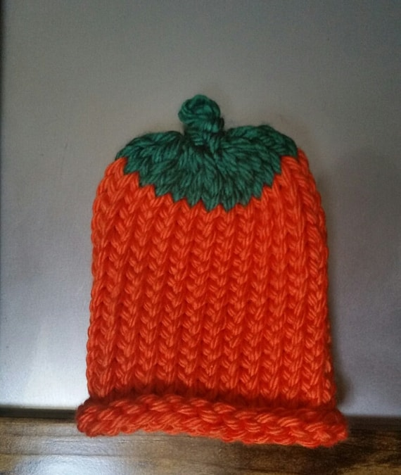 86d13f1dded0 Pumpkin knit hat for fall costume add on Halloween infant