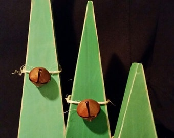 Christmas Trees Rustic Wooden Primitive Set of 3 Home Decor Christmas Gift hand cut, sanded painted, adorned with rustic twine and bell