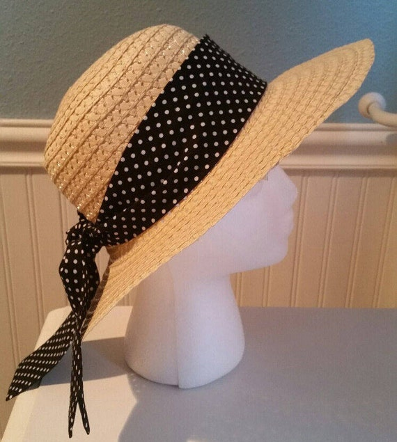 Sun hat with black and small white polka dot hat scarf straw  64910016059