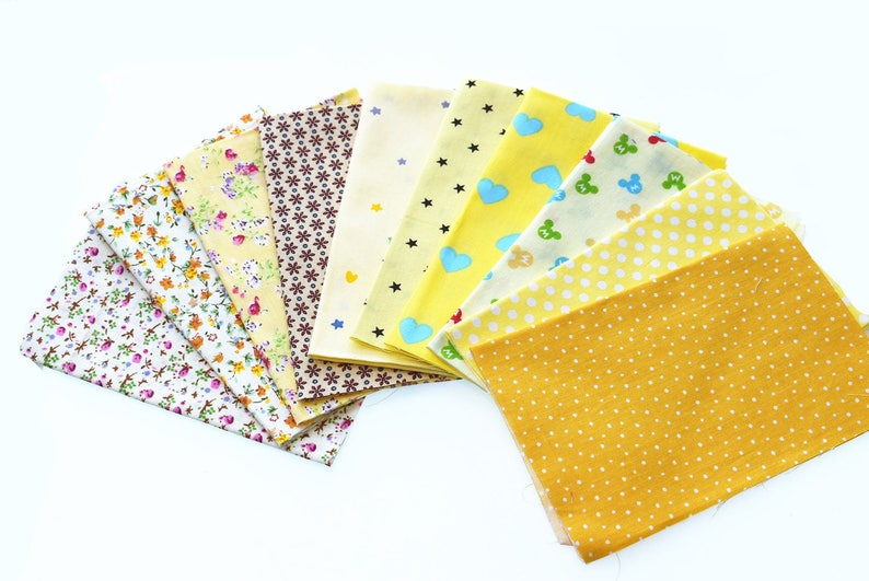Print Cotton Fabric Bundle Squares Patchwork DIY Sewing Scrapbooking Quilting Pattern Artcraft 20cmx30cm 10pcs 8 x 12 inches