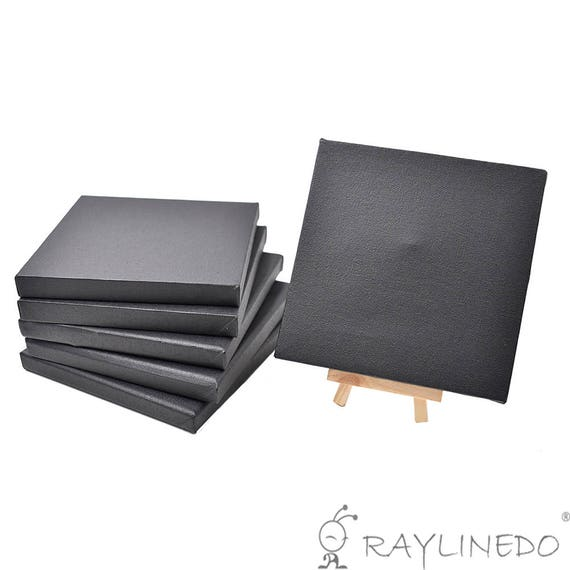 Set of 4pcs Mini Artist Black Canvas Frame 8x8inch Oil Water Painting Board Flat Canvas with 1pc Mini Wood Display Easel 20x20cm