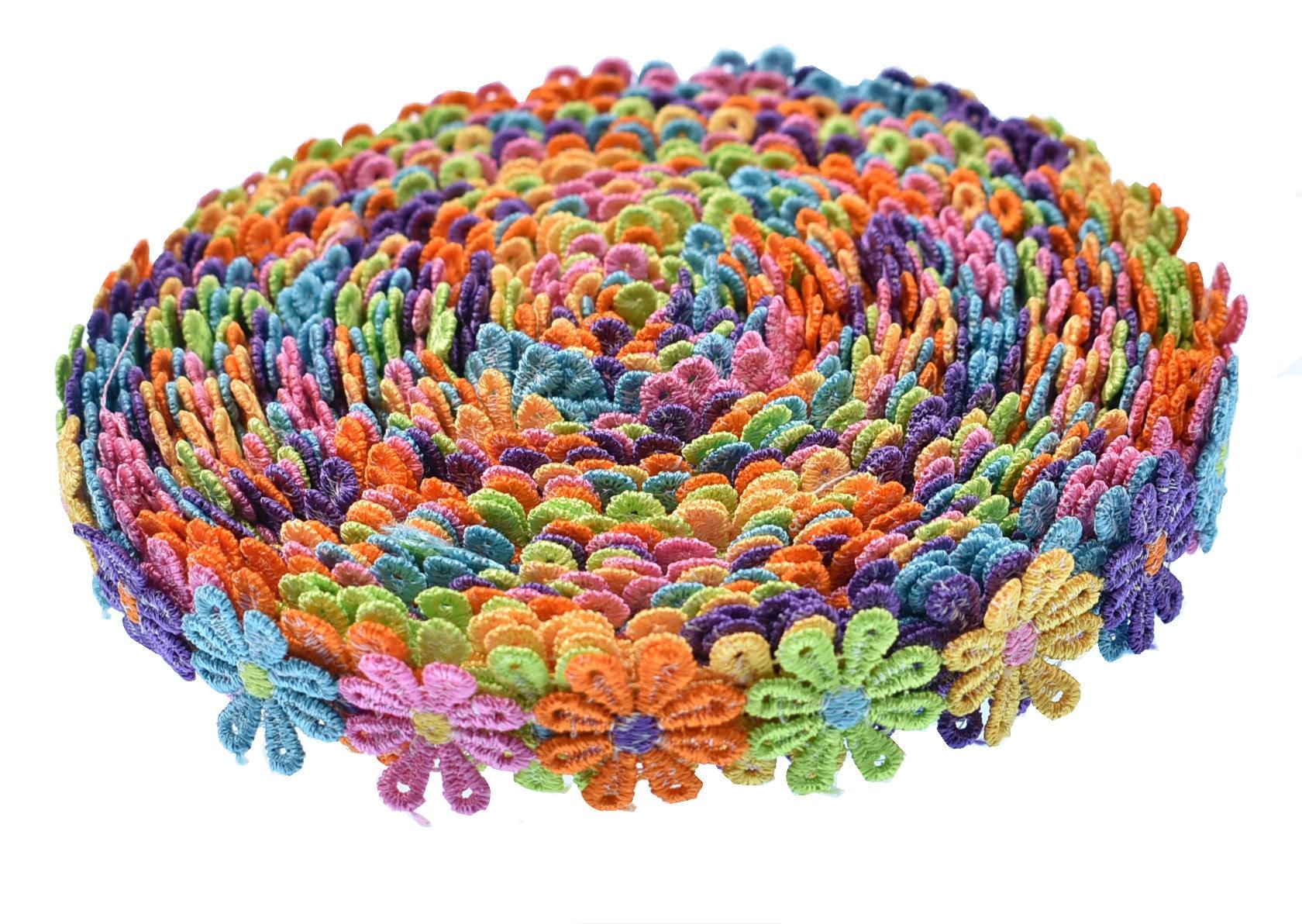 Ruban de de Ruban fleur coloré Style Vintage bordure garnitures tissu broderie dentelle bricolage Applique couture artisanale Decor parti robe de mariage 8a3129