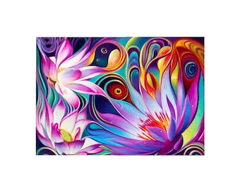 DIY 5D Diamond Painting, Full Drill - Lotus, Diamond Embroidery Pictures Arts Craft For Home Wall Decoration