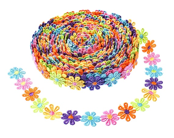 5 Yards Wide Edge Trim Ribbon Vintage Style Edging Trimmings Fabric Embroidery Polyester DIY Lace Applique Sewing Craft Wedding Bridal Dress Embellishment DIY Party Decor Clothes Accessory