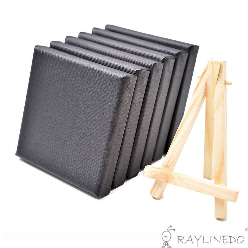 Set of 6pcs Mini Artist Black Canvas Frame 4x4inch Oil Water Painting Board Flat Canvas with 1pc Mini Wood Display Easel 10x10cm