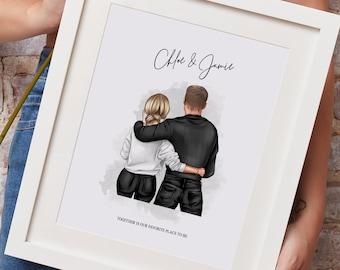 Personalised Couple Print   Best Friend Print   Boyfriend & Girlfriend Print   Anniversary Gift   Couples Gift   Boy and Girl Print