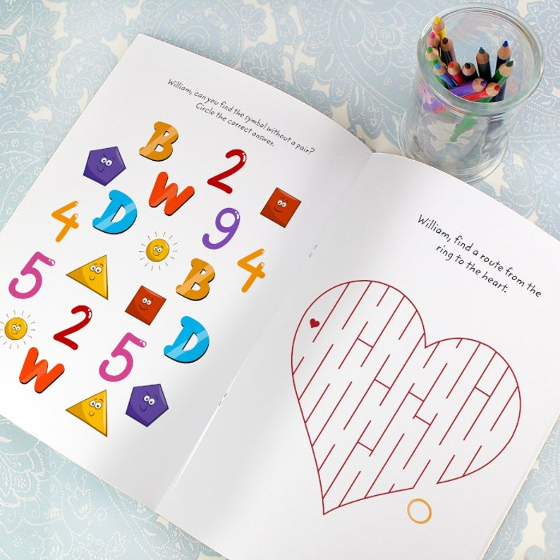 Kids Wedding Thank You Gift Personalised Children/'s Wedding Activity Book with Stickers Flower Girl Page Boy Table Plans