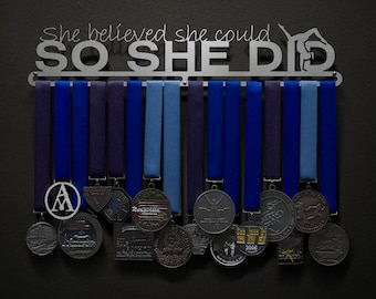 She Believed She Could So She Did w/ GYMNAST figure - Allied Medal Hanger Holder Display Rack