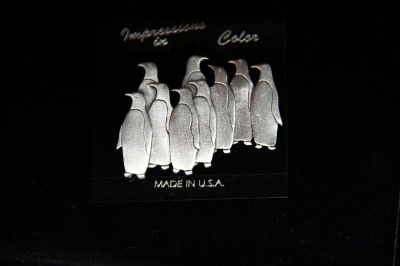 JJ Jonette Vintage Signed Artifacts Group of Penguins Pewter Brooch Pin New Unique Valentines Day Gift