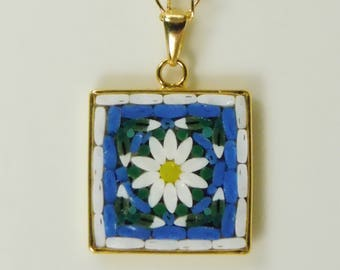 Micro mosaic necklace - daisy on blue background