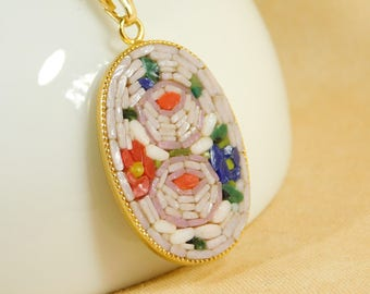 Micro mosaic necklace and pendant -  roses on pink background
