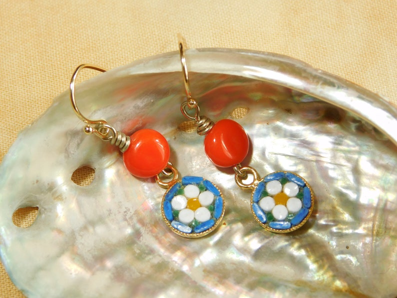 red glass bead White flower on blue background Micro mosaic earrings