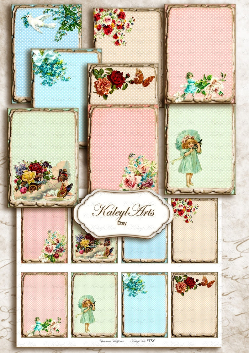 gift tags jewelry holder vintage shabby chic printable,romantic tags french greeting card victorian Atc buttons notes invitation