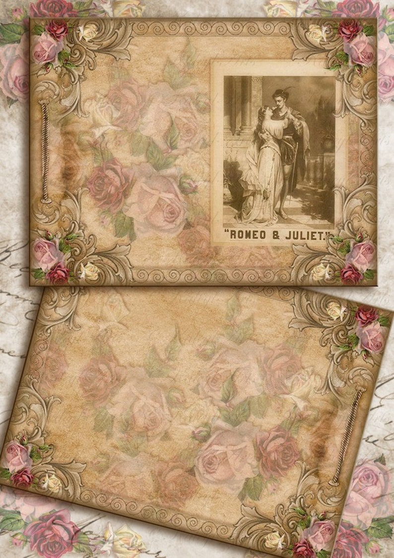 photograph relating to Vintage Printable called Romeo and Juliet, sbook, traditional, al, printable templates, diary, sbook, shabby stylish, laptop, ephemera, passionate, magazine