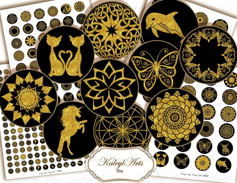 jewelry making gold cabochon black Circles cabochon,sticker,digital,glass resin,pendant jewelry,pocket mirror,magnets,rings,earrings,
