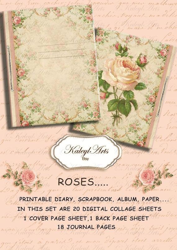 Roses printable album stationery diary notebook etsy image 0 mightylinksfo