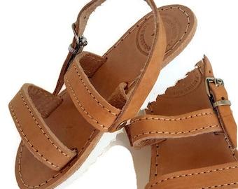 Leather Kids Sandals with White Sole, handmade Greek Children Sandals, Girl Straps Sandals, leather kids sandals