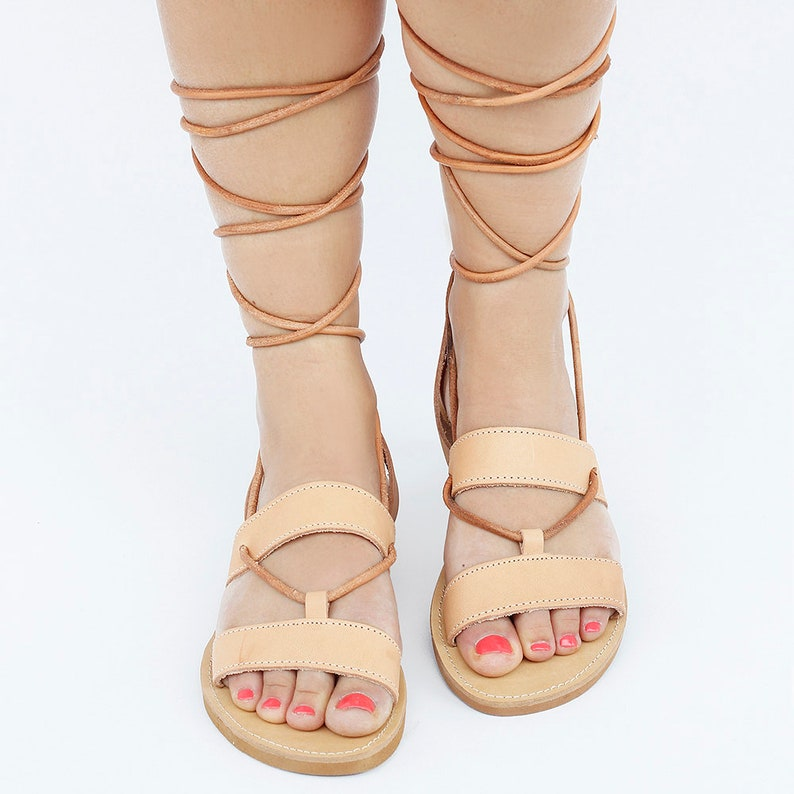 Traditional Greek Spartan Gladiator Sandal Tie Up Sandals Knee High Sandals Natural tanned Lace Leather Sandals Women and Men Sandals