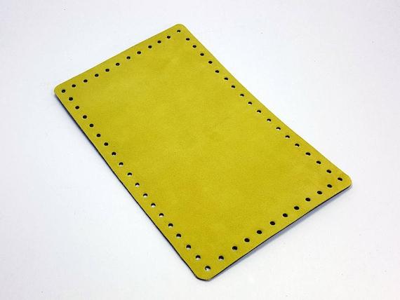 Fond de sac suédine jaune fond carré 25 x 16 cm / 9,8 x 6.29 pouces pour sac en cuir daim sur mesure tricoté, poignées, bretelles de sac à main, anses cuir