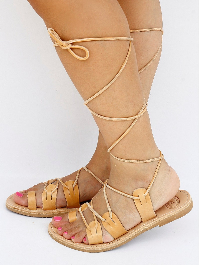 0ef75a3aa34d8 Unisex Spartan Leather Sandals Tie Up Sandals Traditional