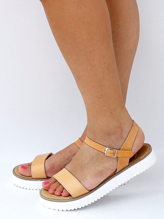 Women Leather Sandals with White Rubber