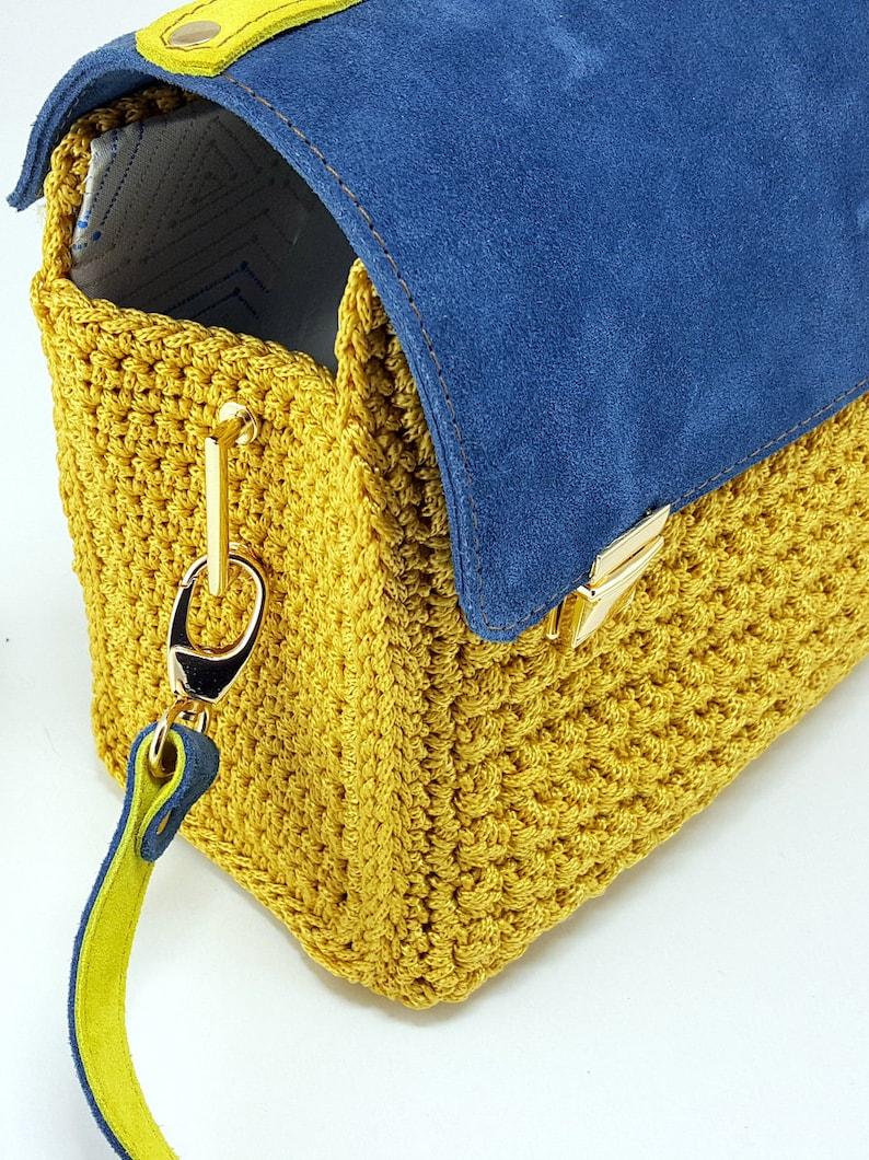 DIY crochet leather bags knitting bag DIY Full kit of Back to school design bag in many colors in leather crocheting bag knitting bags