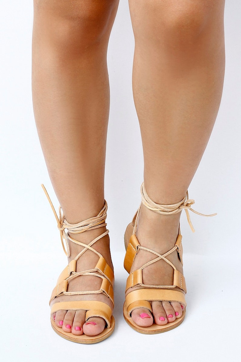 Women's Greek leather sandals Tie Up Gladiator style image 0