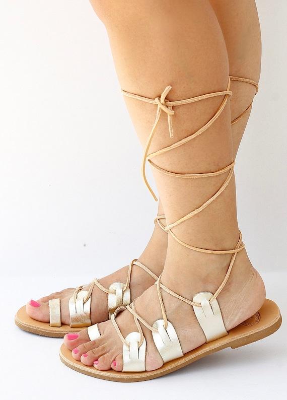 Up Gladiator Spartan Leather Tie SandalsLace Greek High SandalKnee Gold Sandals Traditional nPO0wk