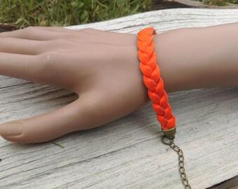 Orange braided leather bracelet / Orange bracelet / leather plaits / leather braiding / braided bracelet / 100 % Handmade