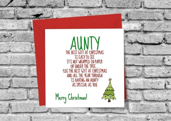 Merry Christmas Nephew.Merry Christmas Aunty Best Gift Greeting Card Love Funny Star Tree Xmas From Niece Nephew Family Green