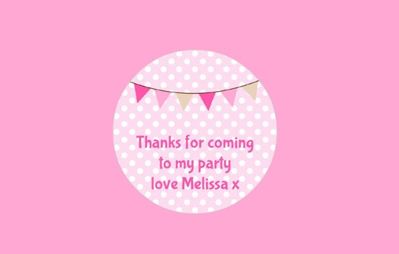 48 Birthday Party Bag Stickers Sweet cone Labels Gift box Personalised