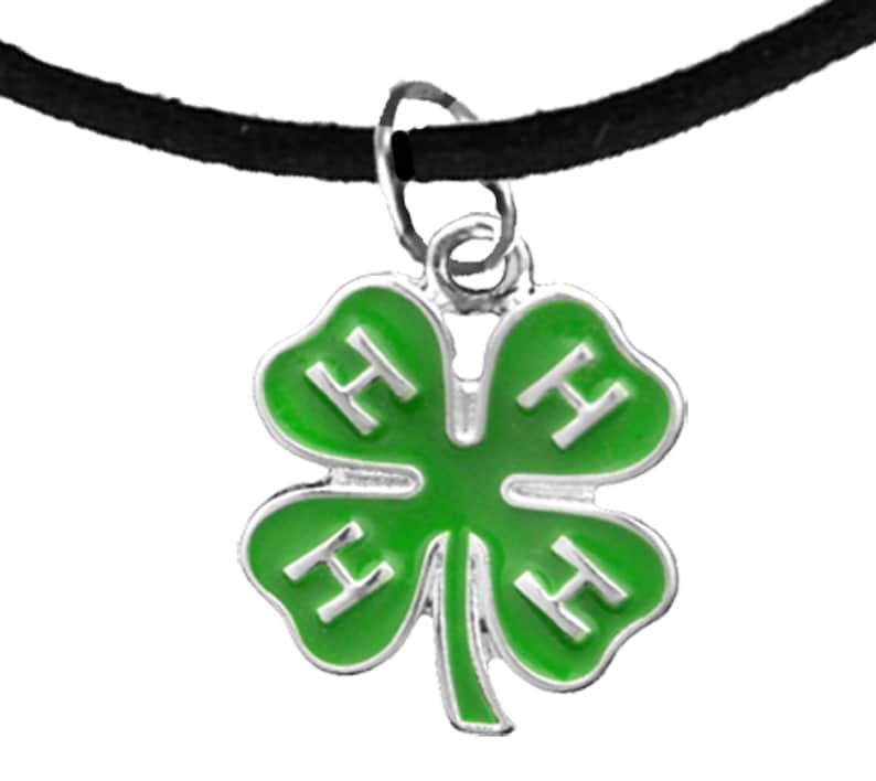 Safe-No Nickel Hypoallergenic 4-H Club Adjustable Black Suede Charm Bracelet No Lead And No Poisonous Cadmium In Metal