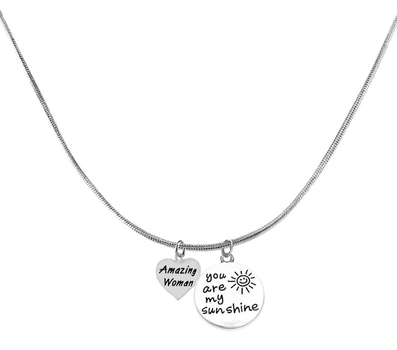 Hypoallergenic-Safe Lead Or Cadmium No Nickel Amazing Woman You Are My Sunshine Adjustable 18-21 Inch Snake Chain Necklace