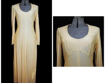 6376dffa892 VTG 70 s   Argon California Gold Maxi Dress   SM-MED   Empire Waist Full  116