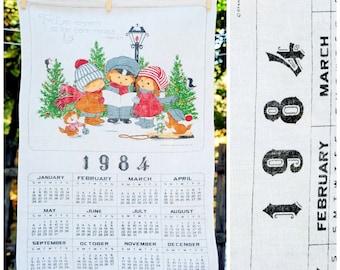Vintage 1984  Children Christmas Carolers /'The Lord Reigneth/' Psalm 97:1  Calendar Tea Towel