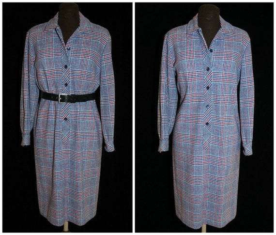 Vintage 70's Gray Plaid Shirt Dress / from Country