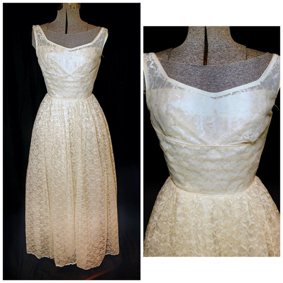 VTG 50's / Ivory Floral Lace Prom Formal Wedding G