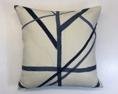 Kelly Wearstler Channels Periwinkle and Oat 18 quot Square Cushion Cover