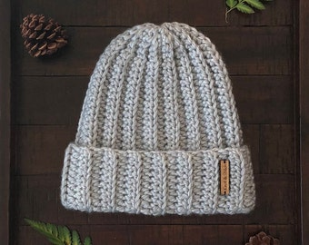 The Jessie Beanie, Crochet Chunky Ribbed Beanie