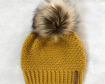 The Crochet Bella Beanie with Faux Fur Pom Pom | Mustard