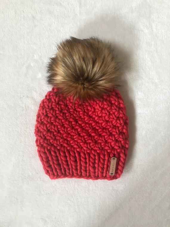 Luxury Knit Beanie Faux Fur Pom Pom 100% Merino Wool  b4e26e3772a