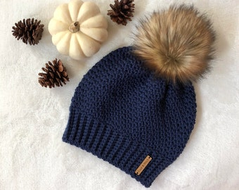The Crochet Bella Beanie with Faux Fur Pom Pom | Navy Blue