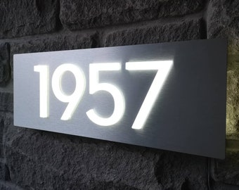 """Custom LED House Numbers Sign - 3D, Horizontal, 5"""" Numbers, Black Numbers on Brushed Silver, Automatic Dusk to Dawn Sensor"""