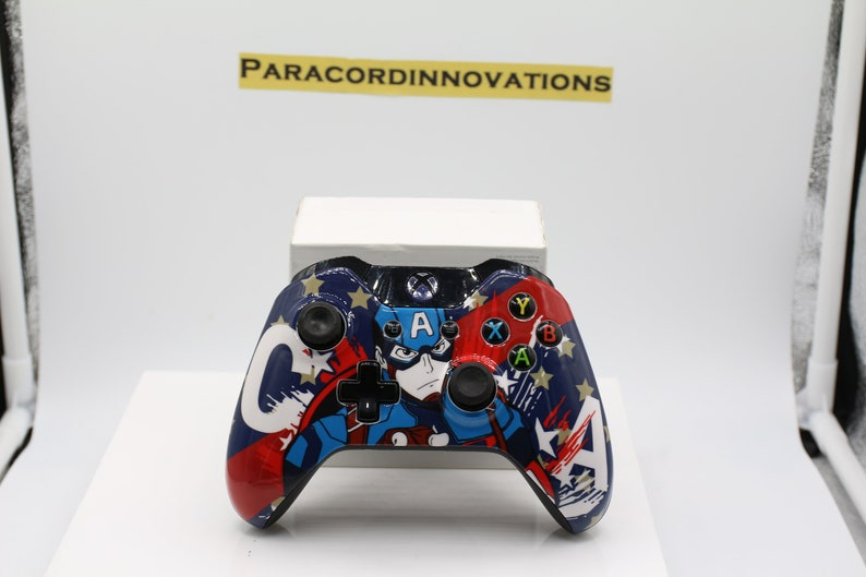 Xbox One/S/X Wireless Controller w/Captain America Face Plate & Blue LED -  1697 Model - Mod Available