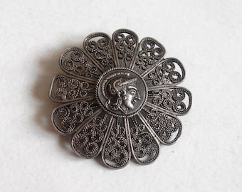 antique silver filigree brooch jewelry goddess Athena made in Greece