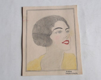 antique original painting, woman portrait, signed,made in Greece