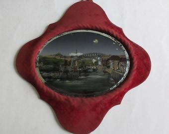 antique reverse glass painting Sunderland the bridges, England souvenir