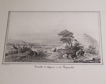 antique 1850 original gravure, engraving - Tombs of Ajax and Patroclus